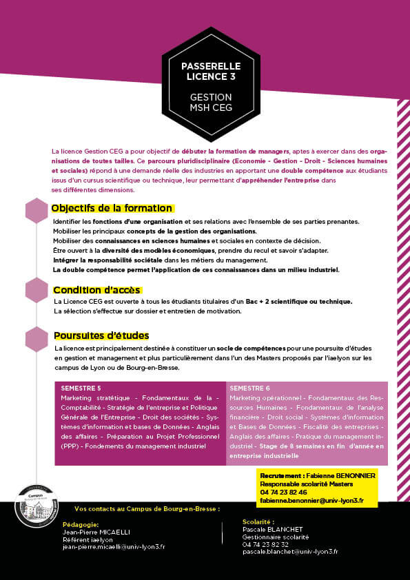 Guide formation Licence CEG