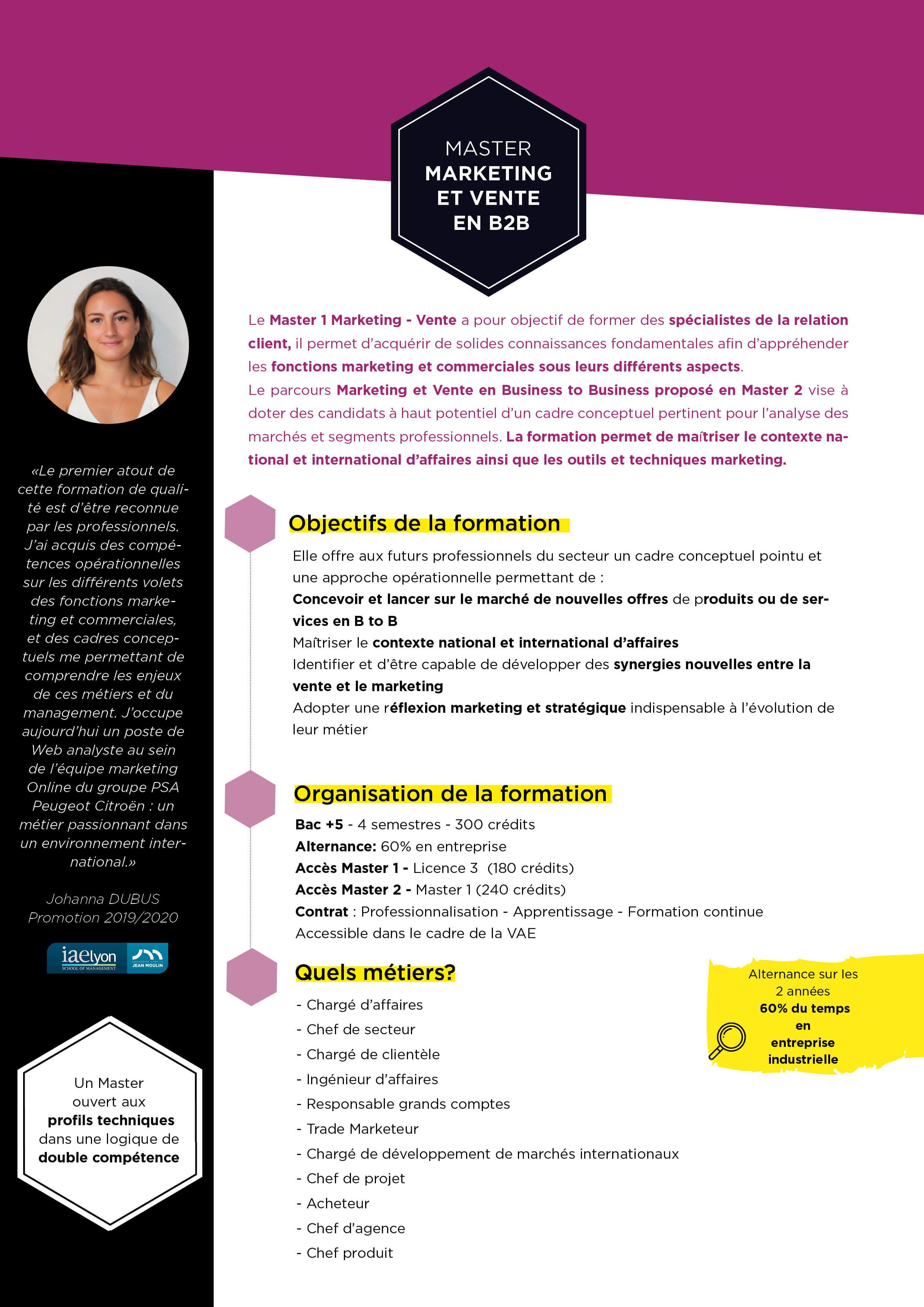master marketing et vente en btob Campus  de Bourg